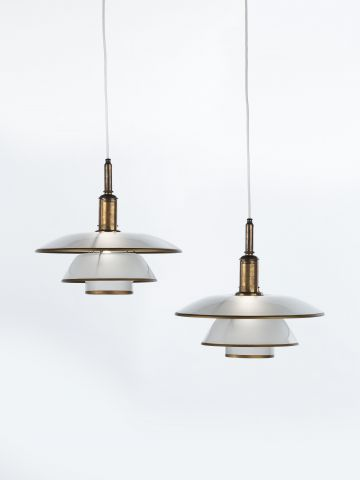 Pair of PH-4/4 Frosted Glass Pendant Lights