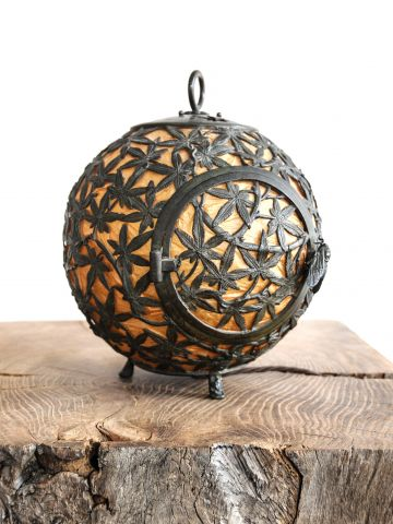Spherical Cast Bronze & Paper Globe Table Lamp