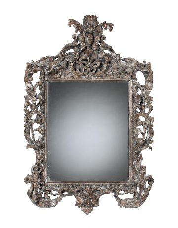 17th Century Italian Carved & Silvered Mirror