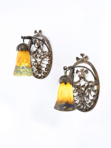 Pair of Art Nouveau 'Pate-de-Verre' Wall Lights