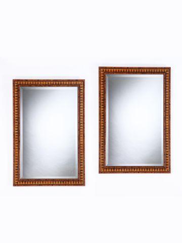 Pair of Mid-Century Parquetry Mirrors