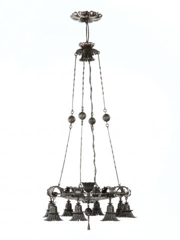 Large Wrought Iron Chandelier by Alessandro Mazzucotelli