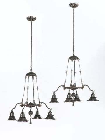 Pair of Wrought Iron Chandeliers by Alessandro Mazzucotelli