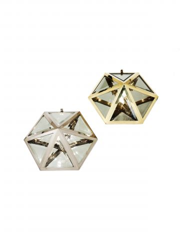 Pair of Hexagonal Wall or Ceiling Lights