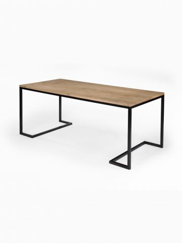 Patinated Steel Oak Table by Rose Uniacke
