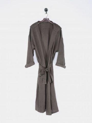 Hooded Linen Robe in Cinder