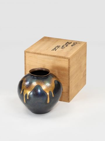 Hammered Copper 'Drip-Glaze' Vase