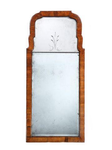 Queen Anne Period Laburnum Framed Mirror