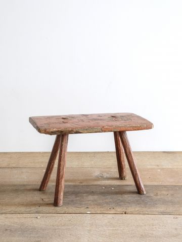Small 18th Century Rustic Red Stool