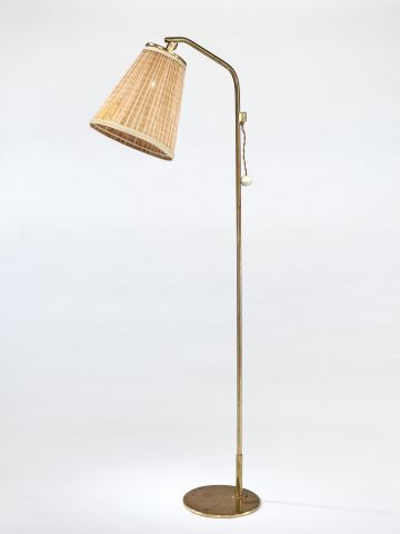 1950's Brass Standard Lamp with 'Strip' Shade