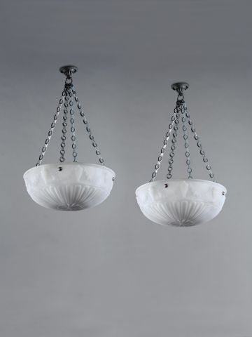 Pair of Large Edwardian Opalescent Glass Hanging Lights