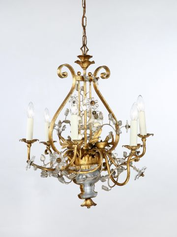 French Gilded Iron and Glass Chandelier