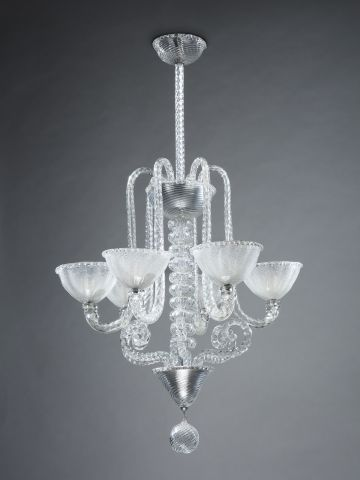 Large Six-Arm Murano Glass Chandelier