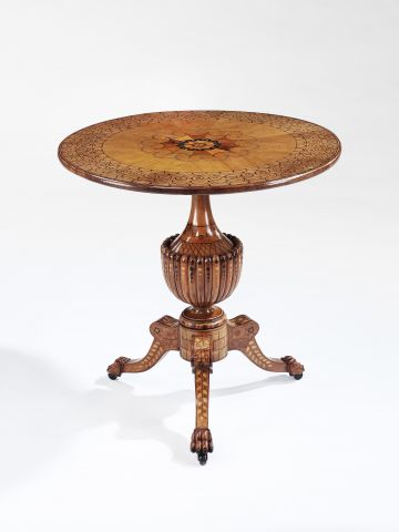 19th Century Italian Olive Wood Inlaid Table