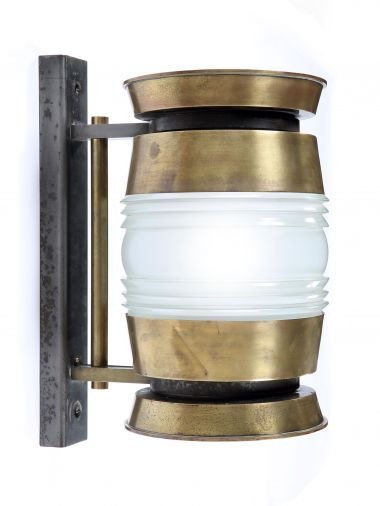 A Large Brass & Glass Barrel Wall Light_0