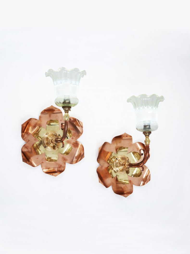 Pair of Arts & Crafts Wall Sconces by W.A.S Benson_0
