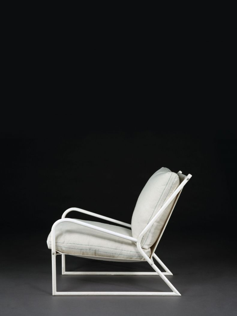 Pair of 1950's White Painted Tubular Armchairs_0