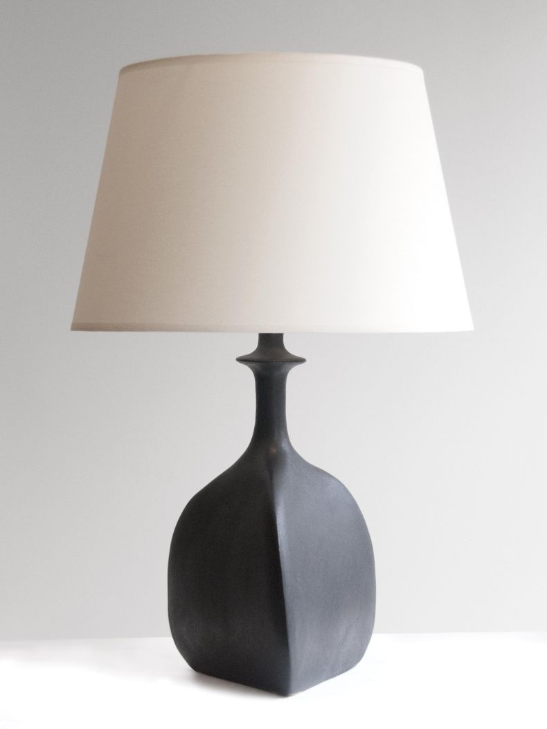 Pair of Black Sandstone Ceramic 'Trilobe' Lamps by Isabelle Sicart_0
