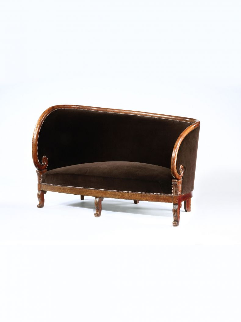Charles X Upholstered Mahogany Settee_0