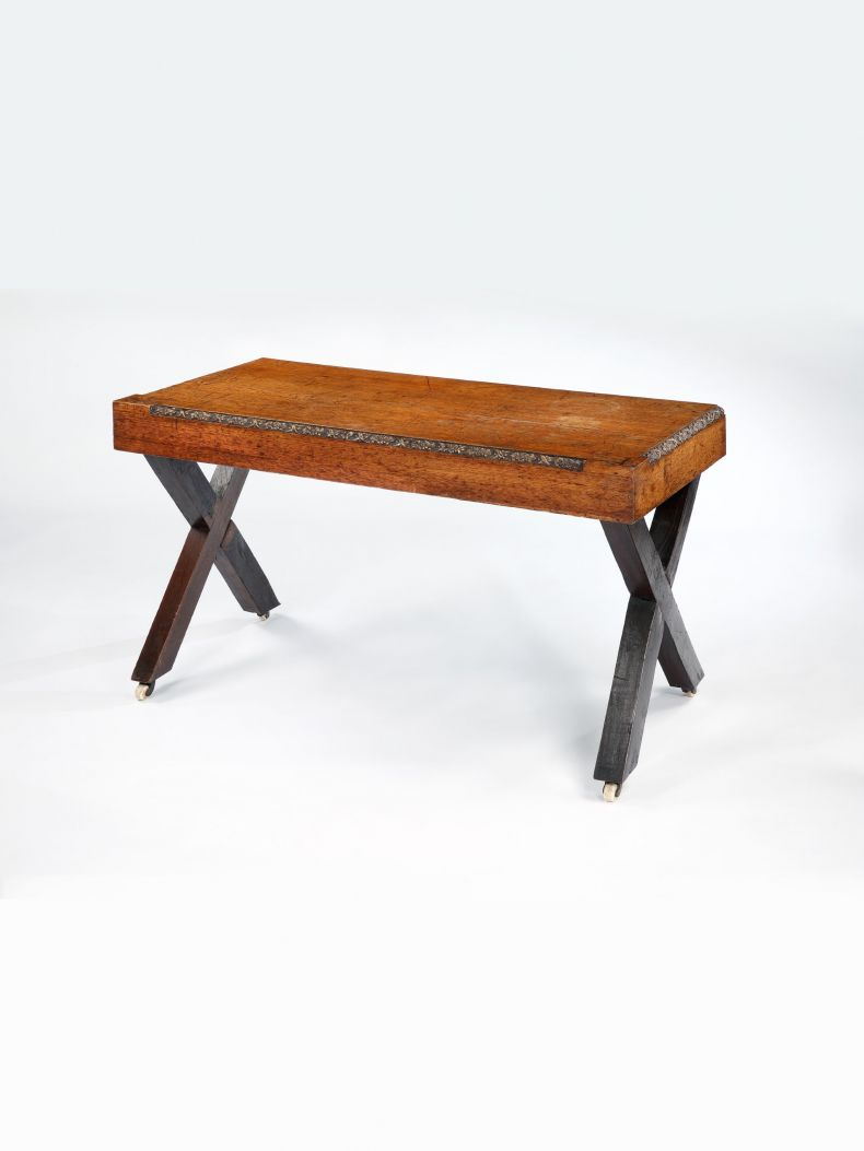Large Arts & Crafts X-framed Console Table_0