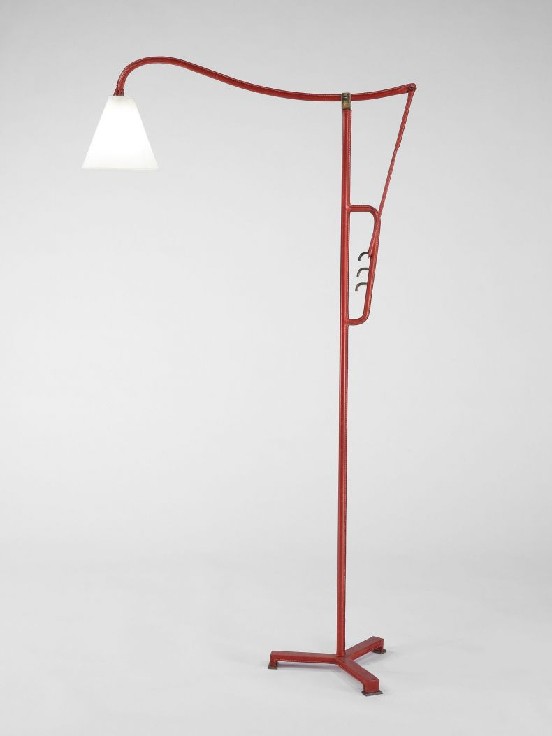 Red Leather Floor Lamp_0