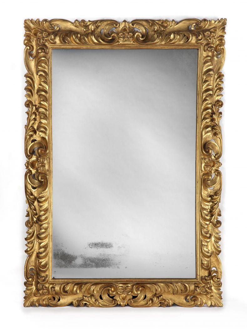 Large Early 18th Century Giltwood Mirror_0