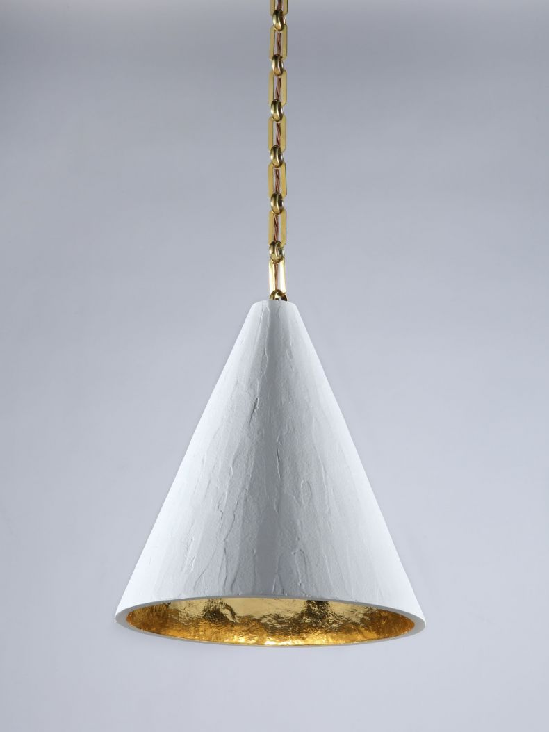 Gilded Plaster Cone Hanging Light