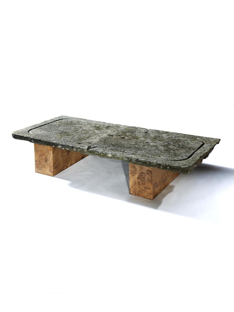 Large Stone & Oak Coffee Table_0