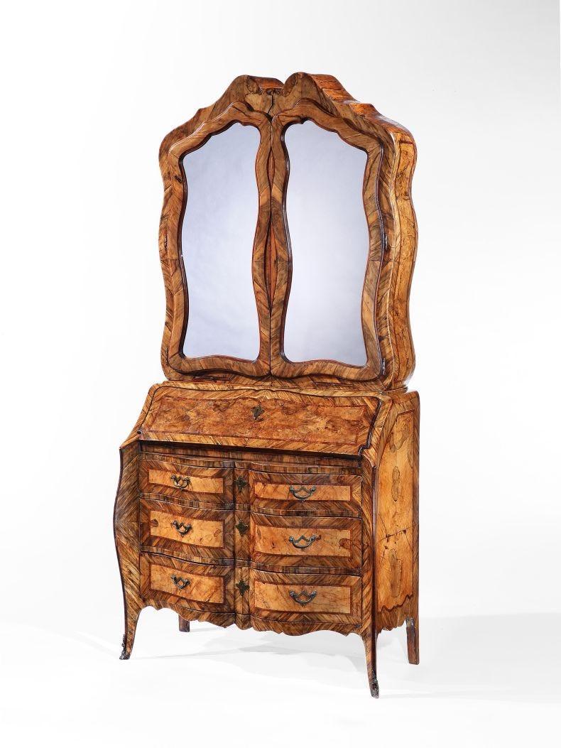 18th Century Italian Olivewood Bureau Cabinet_0