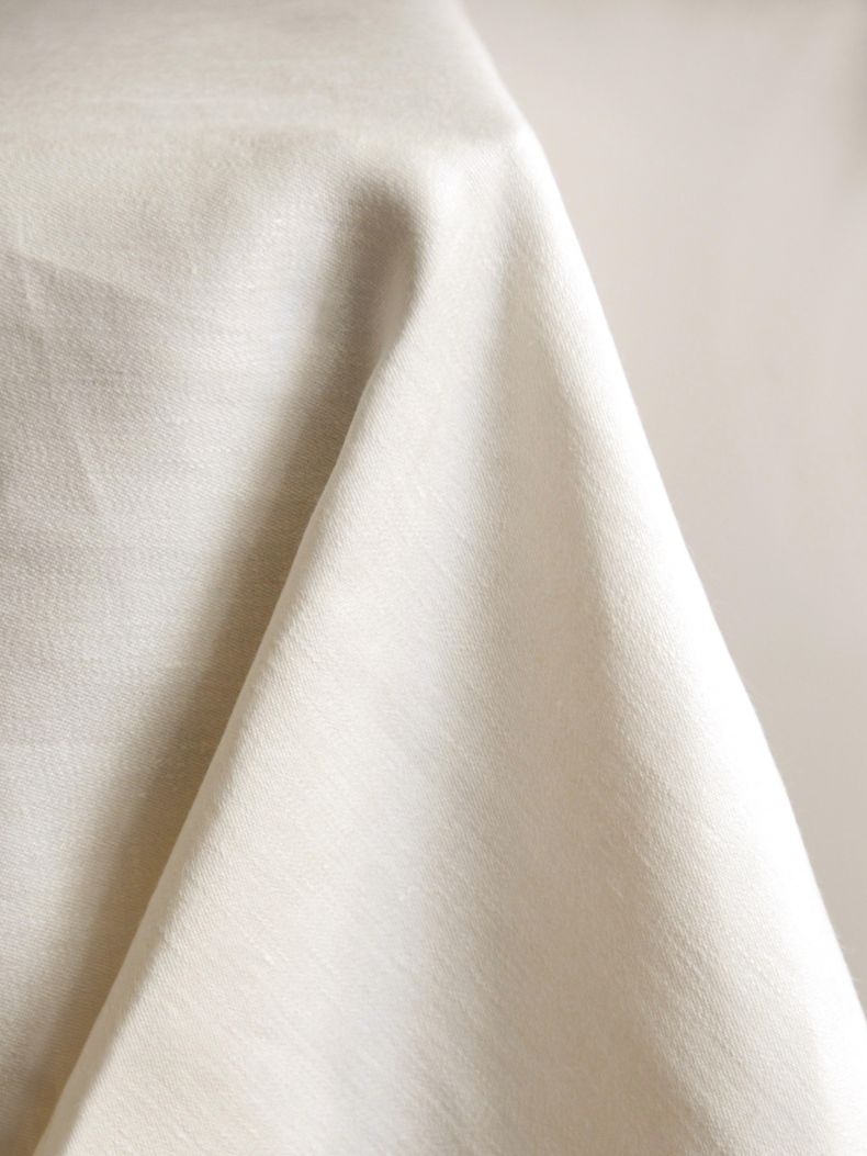 Square Tablecloth in 'Ivory' Double Damask Linen_0