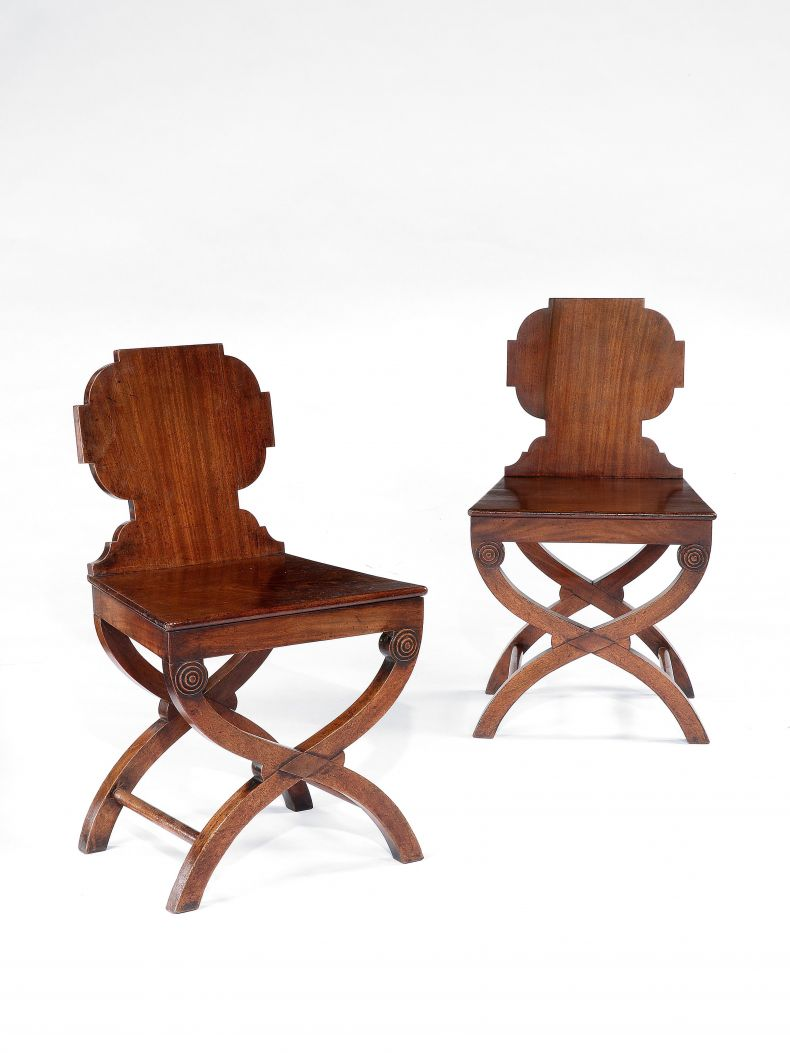 Pair of Regency Mahogany Hall Chairs_0