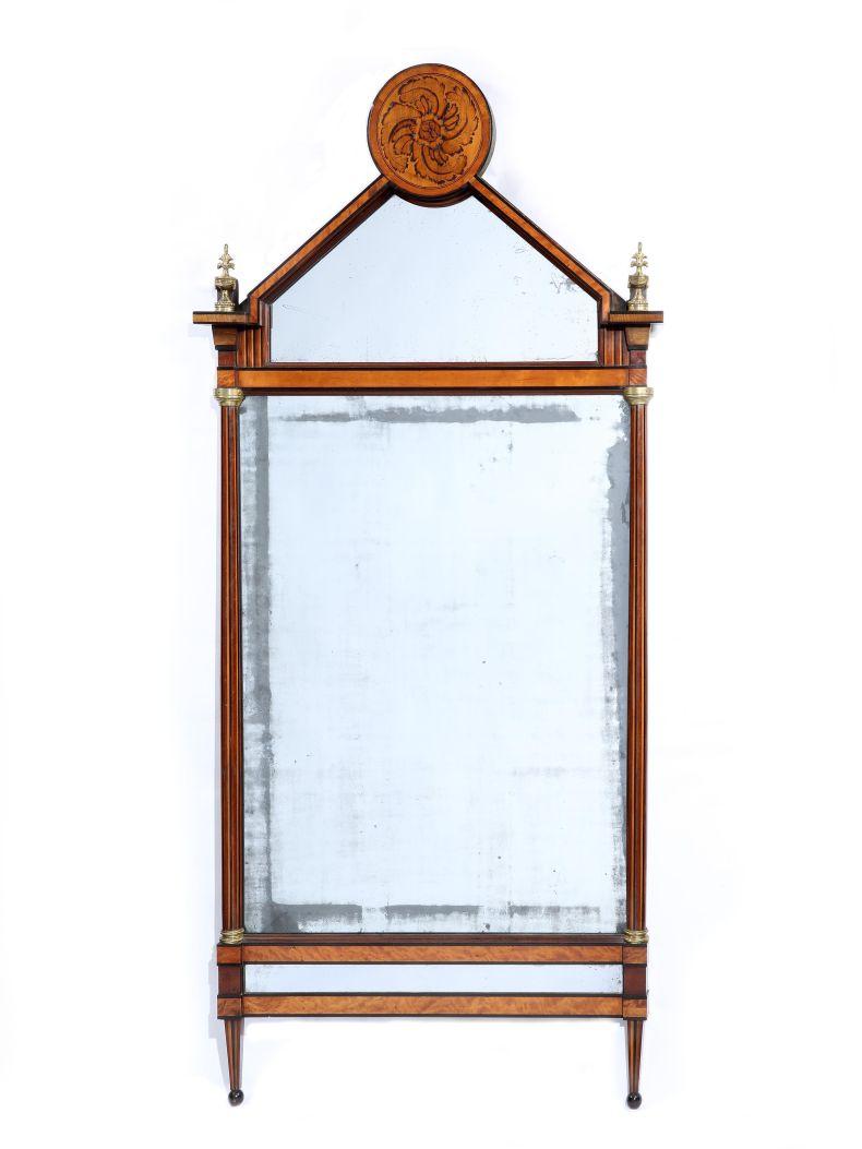 Large 18th Century German Satinwood & Gilt Metal Pier Mirror_0