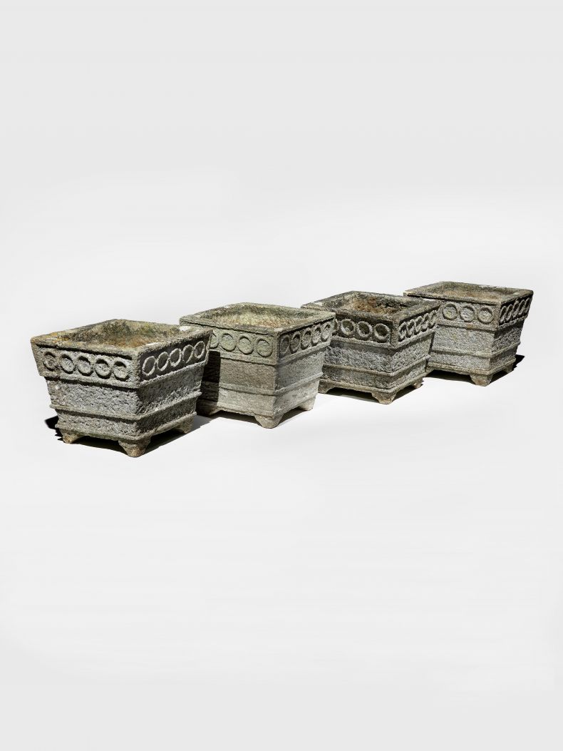 Set of Four Arts & Crafts Cotswold Stone Planters_0