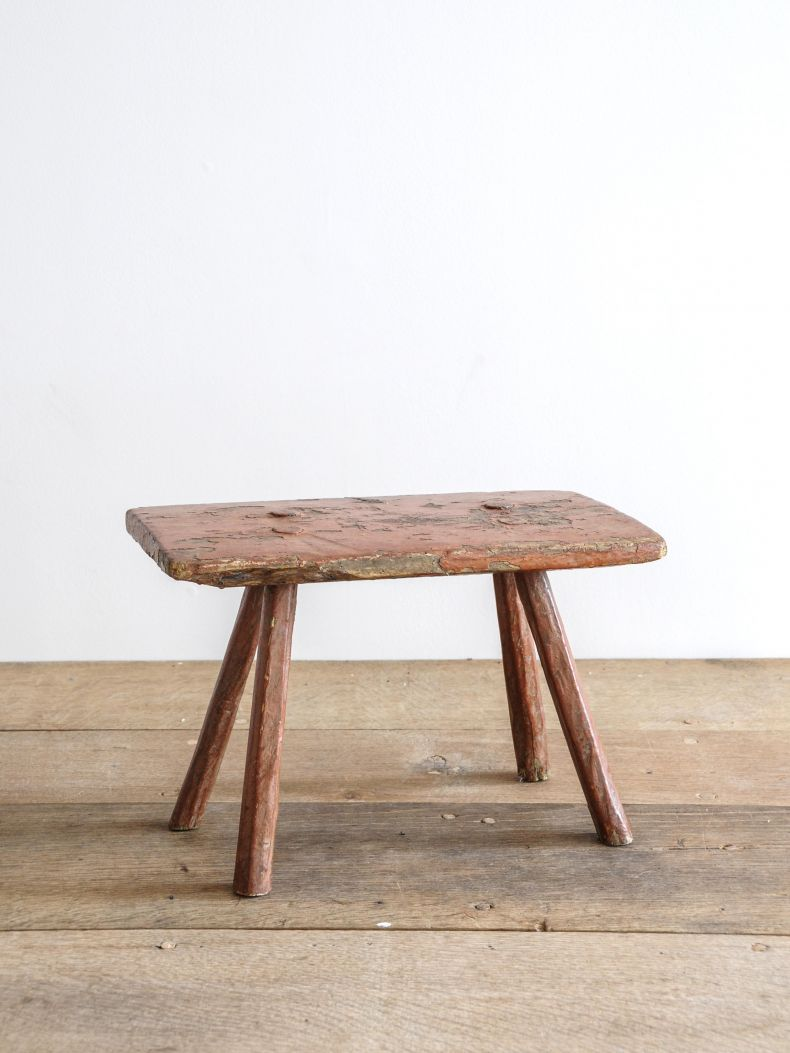 Small 18th Century Rustic Red Stool_0