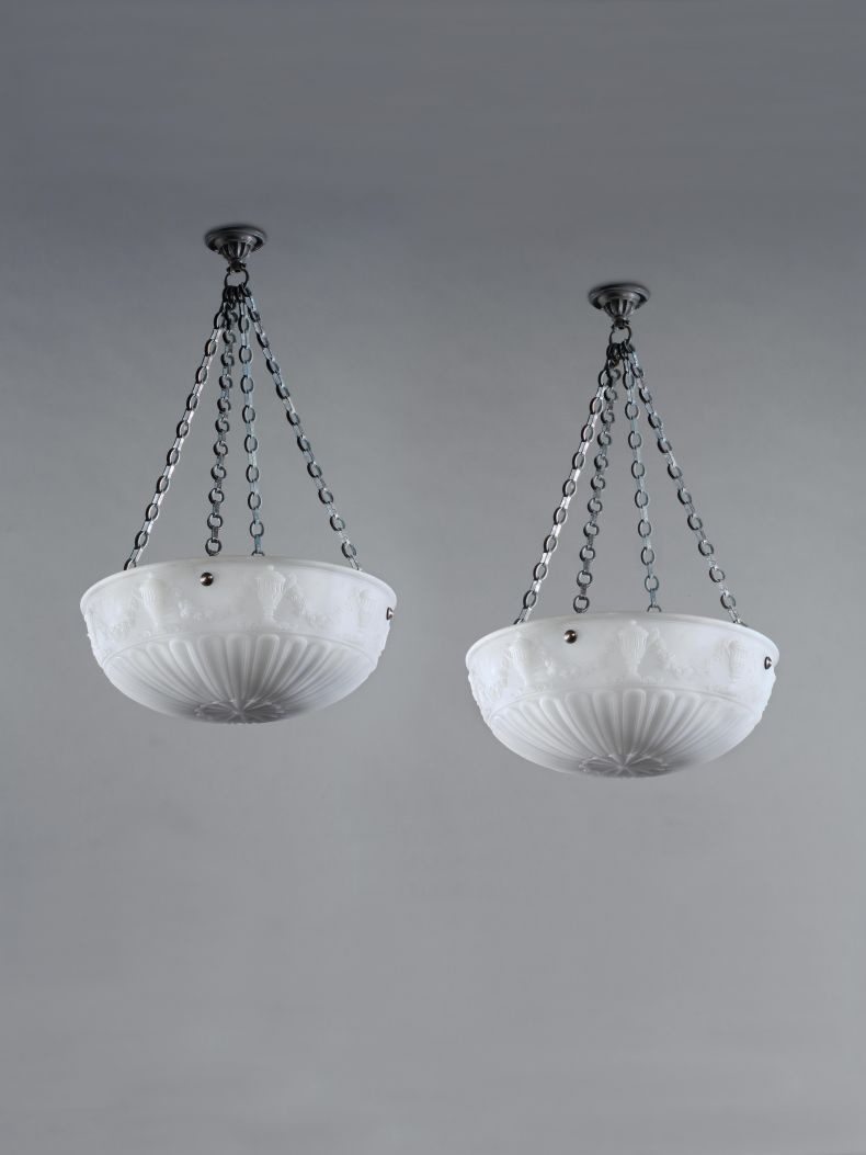 Pair of Large Edwardian Opalescent Glass Hanging Lights_0