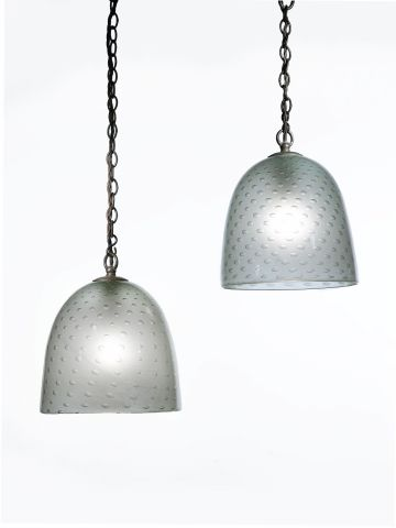 Pair of Hand-Blown Frosted Glass Pendant Lights