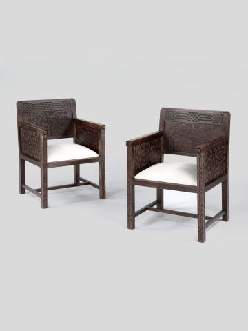 Pair of Belgian Oak Armchairs
