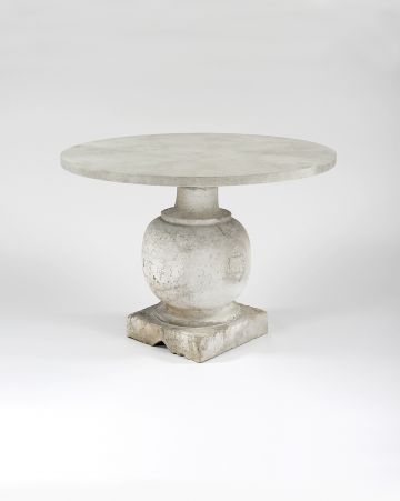 Pair of Bulbously Carved Limestone Baluster Tables