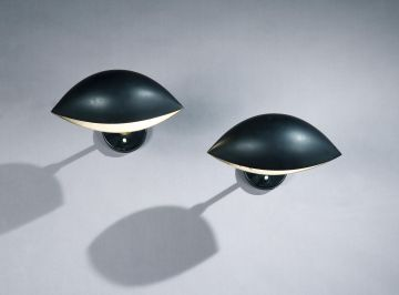 Pair of Lacquered Aluminium 'Oeil' Wall Lights by Serge Mouille