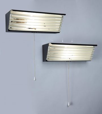 Pair of Black Painted Strung Aluminium Wall Lights