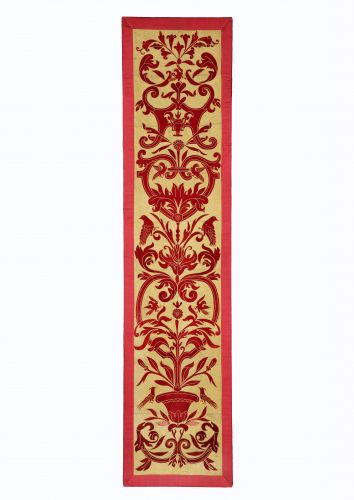 Panel of Applique Red Velvet on a Yellow Silk Ground