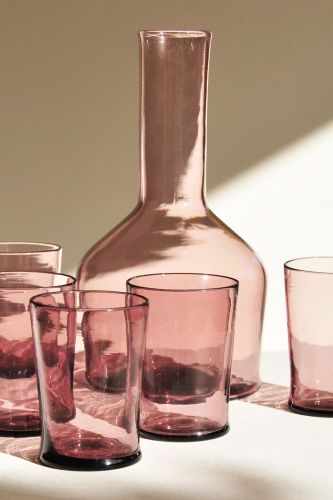 An Amethyst Glass Decanter with 12 Glasses by Archivio Lante