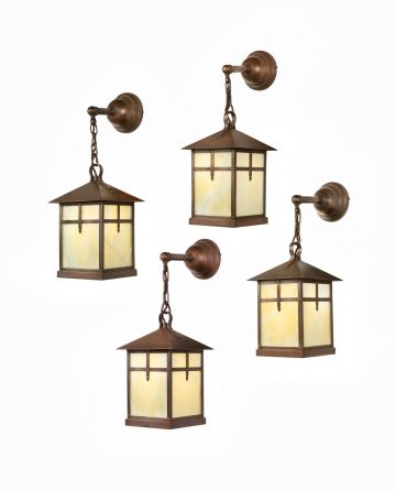 Set of Four Arts & Crafts Alabaster & Copper Lanterns