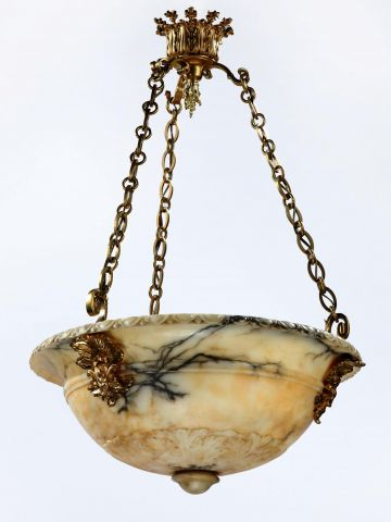 Large French Ormolu Alabaster Hanging Light