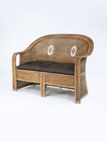 Secessionist High Back Cane Settee