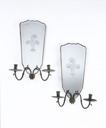 Pair of French Mirrored Wall Sconces