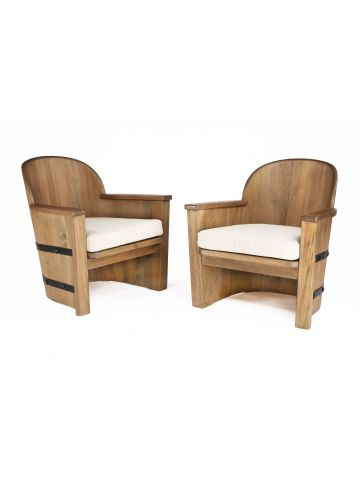Pair of Swedish Pine 'Barrel' Tub Chairs