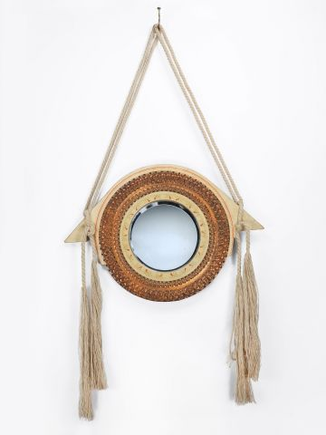 Vellum & Copper Circular Mirror by Carlo Bugatti