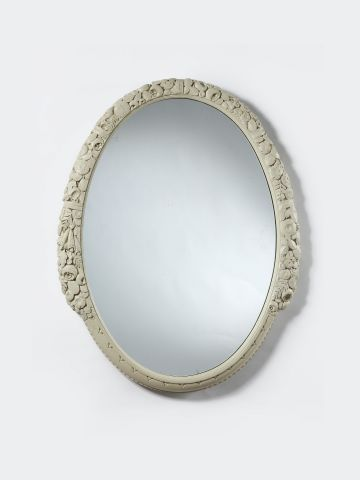 Carved Oval Mirror by Leon Jallot