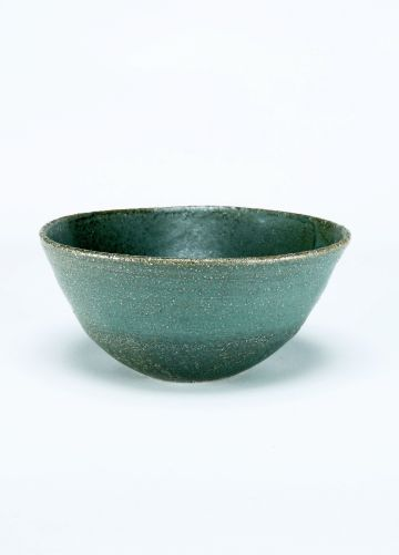 Ceramic Small Bowl in Matt Green Glaze